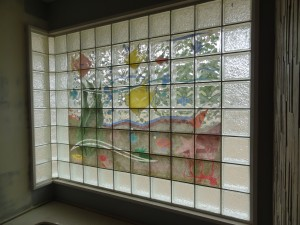 Decorative glass block window mural