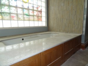 Tub transfer & decorative glass block window in universal design home