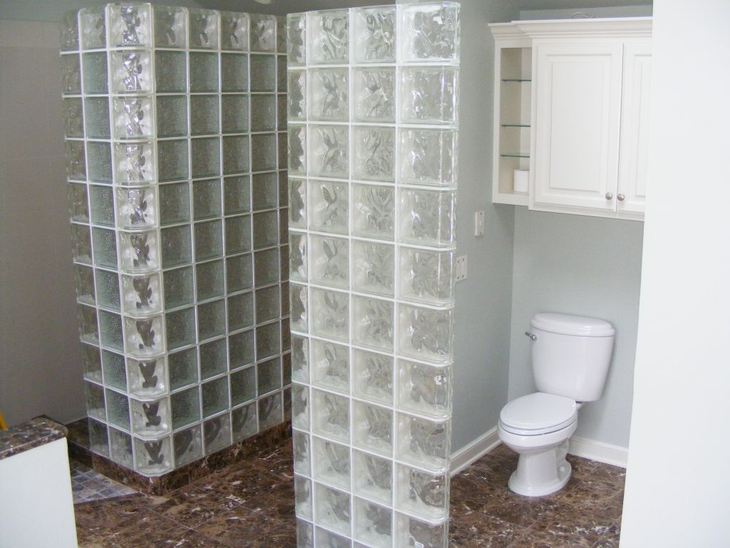 Bathroom Partitions Cleveland Ohio corner glass block square or rectangular shower, partition wall