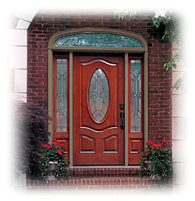 Fiberglass front entry door and sidelight system with decorative glass