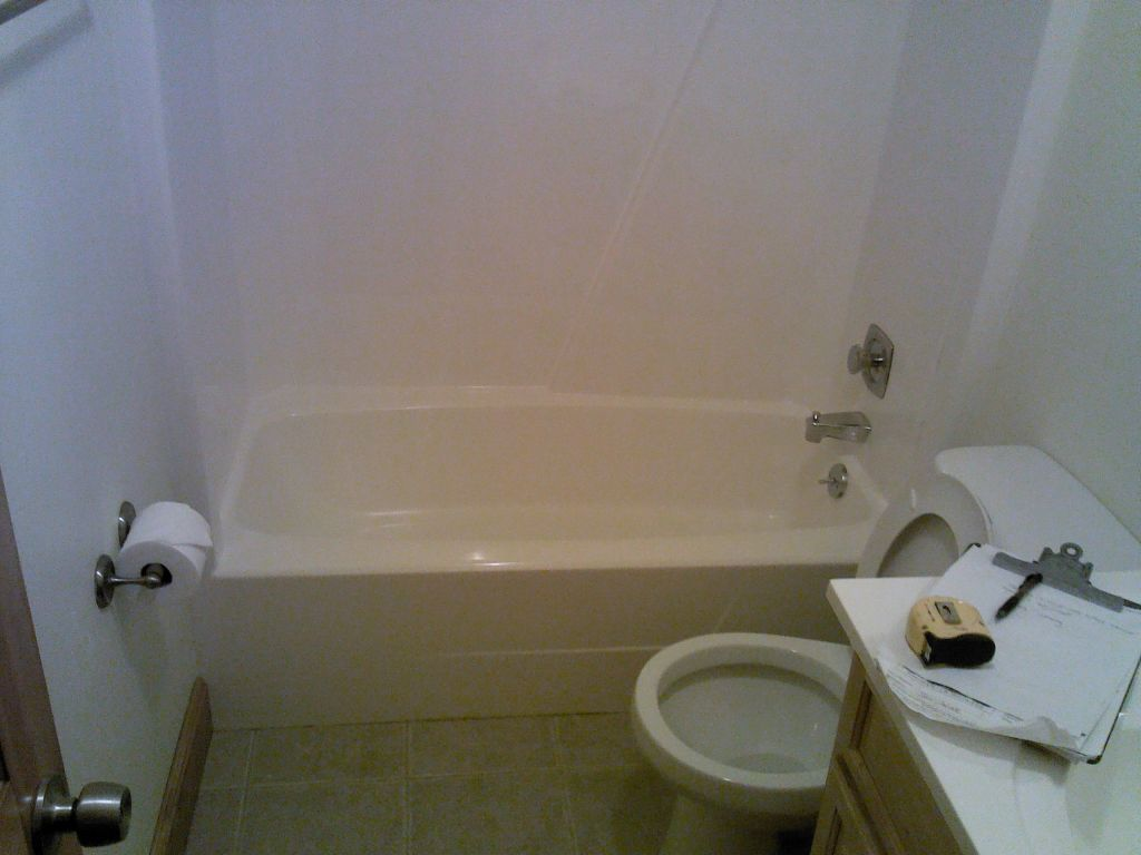Existing Bathtub Before Glass Block Shower Conversion