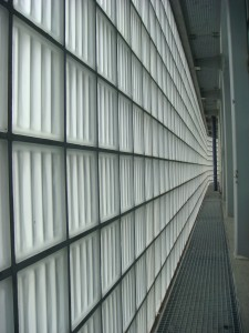 Exterior fluted glass block wall design
