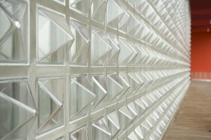 Glass block wall design with Italian inspired designs