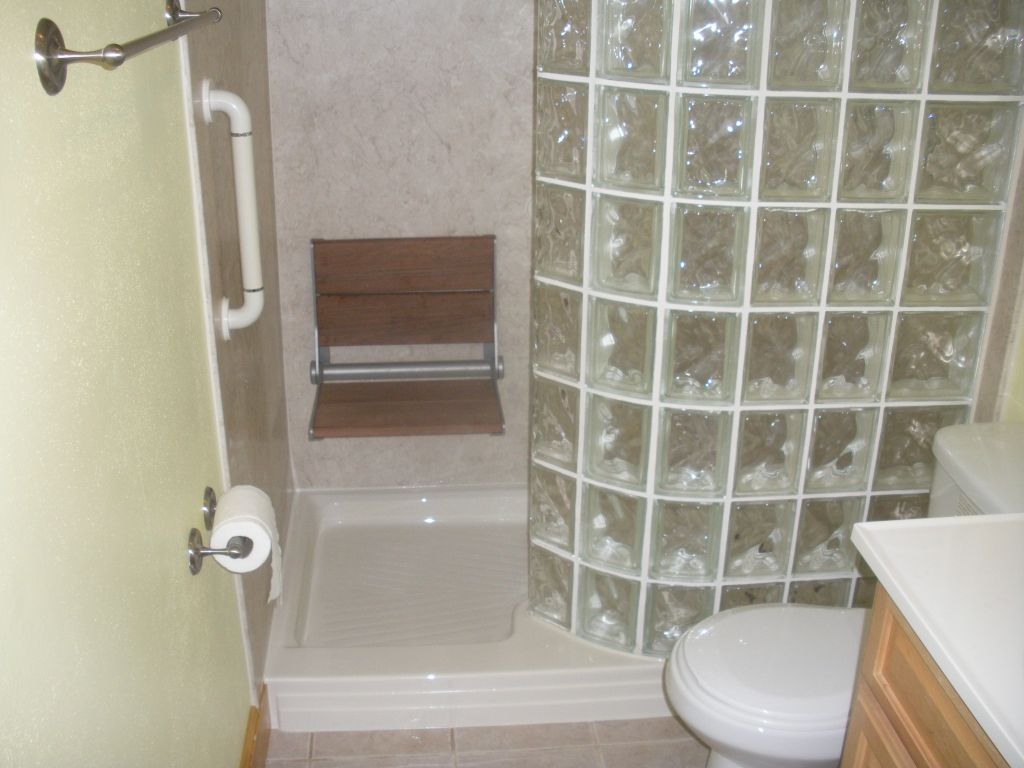 Amazing Glass Block Walk In Shower Fold Down Seat And Grab Bar