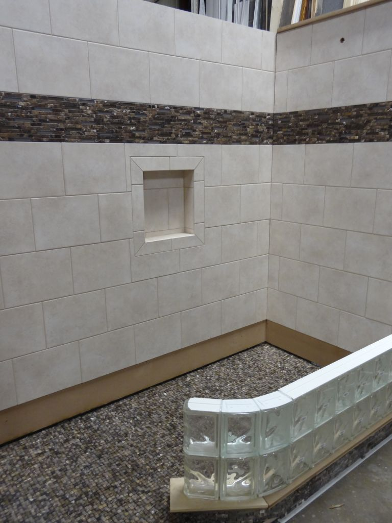 Handicapped Accessible Roll In Shower With Curved Glass Block Wall In  Process