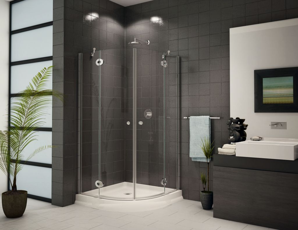 Small corner shower enclosure, curved & stand up corner shower ...