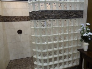 Curved glass block walk in shower wall decorative tile border expanded polystyrene base