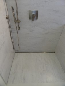 Trench Drain Floor System in a Marble Shower