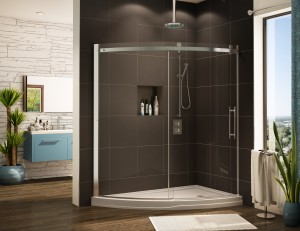 Curved shower base with curved glass shower enclosure slice design