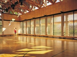 Solid security glass block in gym window sections