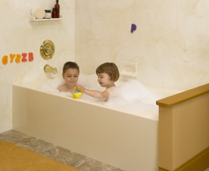 Acrylic bathtub used in a bathroom remodeling project