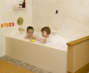 Acrylic bathtub used in a bathroom remodeling project