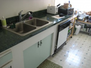 Before picture main countertop area of a small kitchen