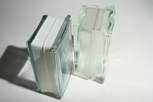 "Comparing 3 1/8"" thickness (thin line) to 4"" thick angled glass block shapes"
