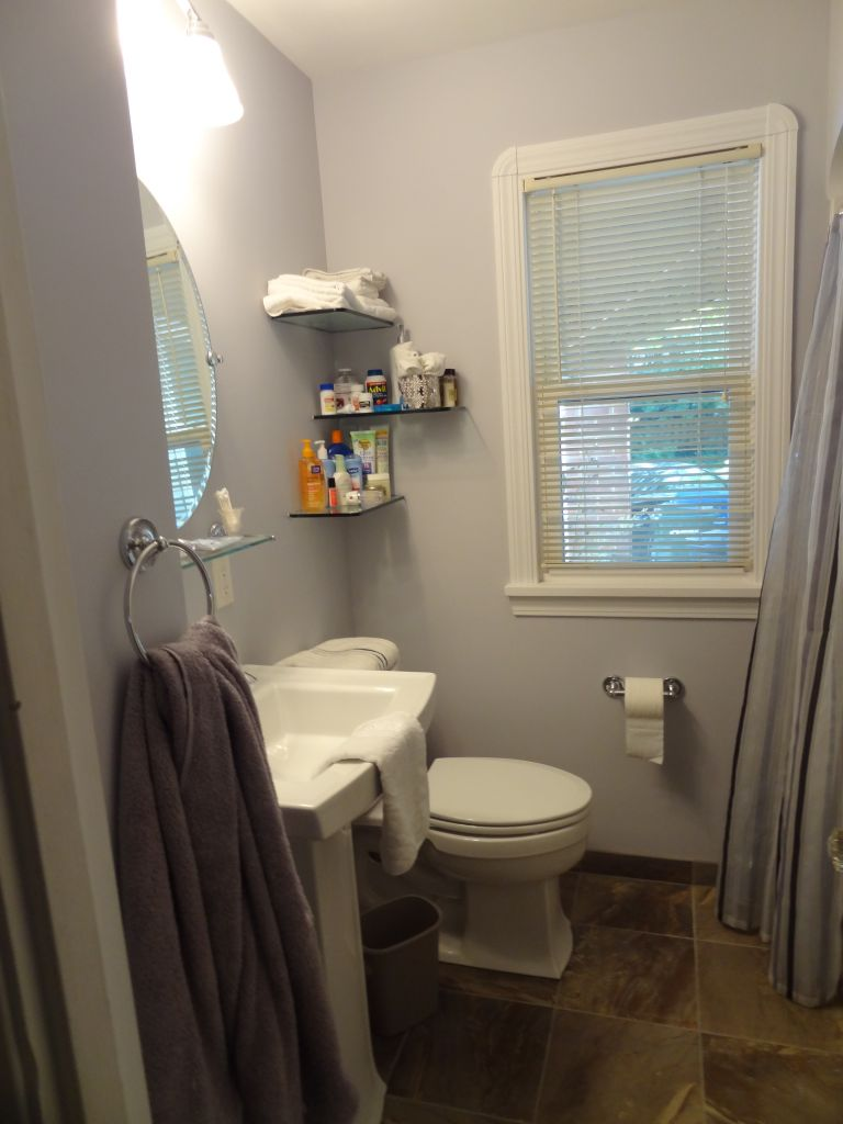 Finished Small Bathroom Remodeling Pic Pedestal Sink And Floating Glass  Shelves