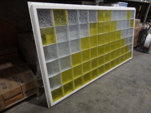 8' x 4' vinyl framed amber yellow colored glass block window before shipment