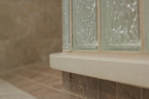 Close up of a curbless shower base (ready for tile) with slip resistant tiles