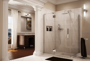Frameless pivot shower door & enclosure with intelligent heavy duty hardware Fleurco line