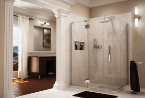 Frameless pivot shower door & enclosure with intelligent heavy duty hardware Fleurco line