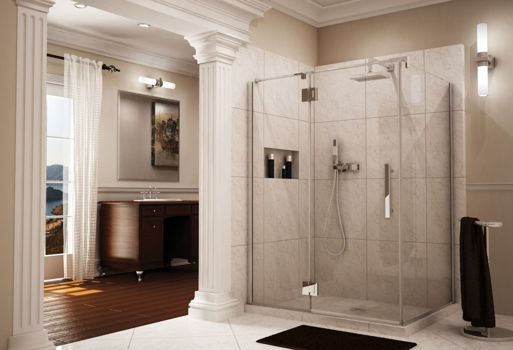 Frameless Pivot Shower Door U0026 Enclosure With Intelligent Heavy Duty Hardware  Fleurco Line