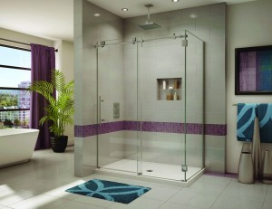 Luxury sliding shower door with a rectangular base in Fleurco Kinetic line