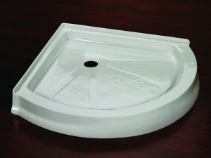 """Arc shaped acrylic shower base available in 32"""" 36"""" and 40"""" sizes"""
