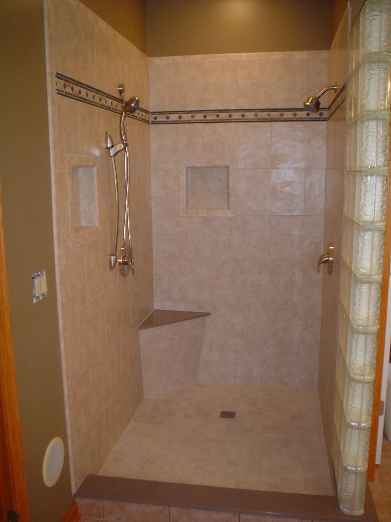 Shower remodel using waterproof wedi shower system glass - Shower stall designs small bathrooms ...