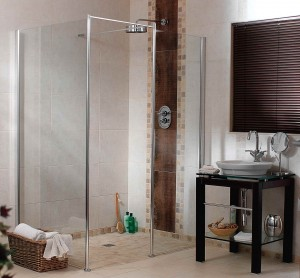 roll in barrier free shower for bath to shower conversion