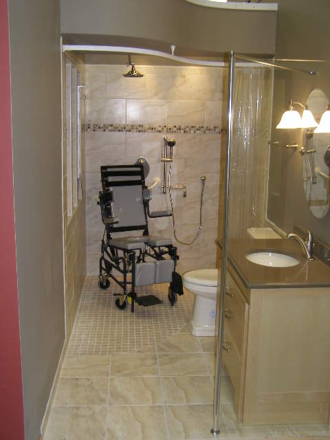 Wheelchair accessible shower bathroom shower base and for Wheelchair accessible bathroom designs