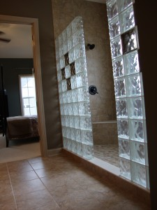 glass block shower in new construction with colored glass blocks in columbus ohio