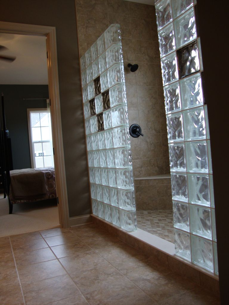 Glass blocks in new construction windows showers walls for Bathroom designs glass