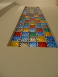 Cathedral style colored glass block windows at OSU Wexner Center Josiah McElheny Exhibit