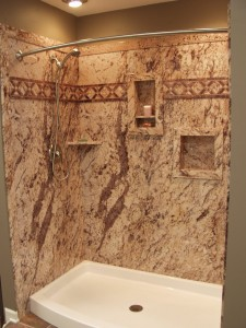 Decorative shower makeover using Sentrel wall surrounds to create the look of real stone