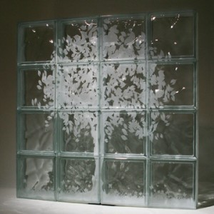 Etched glass blocks that can be used for windows or shower or partition walls