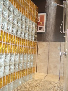 Colored and Frosted glass blocks for style and interest for a shower wall