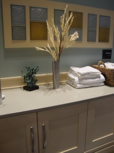 Frosted glass blocks with color used in a laundry room