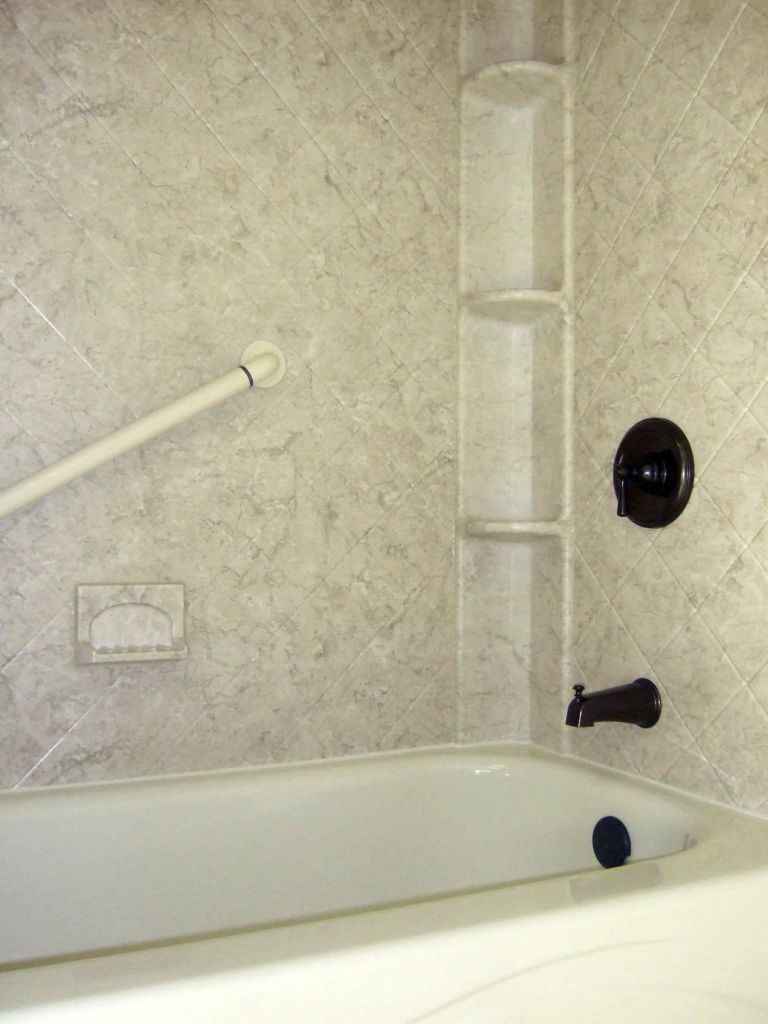 Acrylic Shower Walls With Breccia Pattern And Shower Caddy