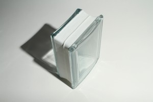 Curved glass block in a clear see through design