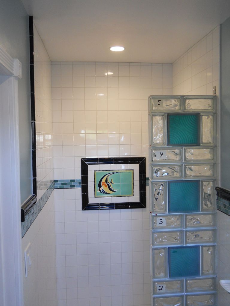 Colored Glass Block Shower in a Small Bathroom Renovation San ...