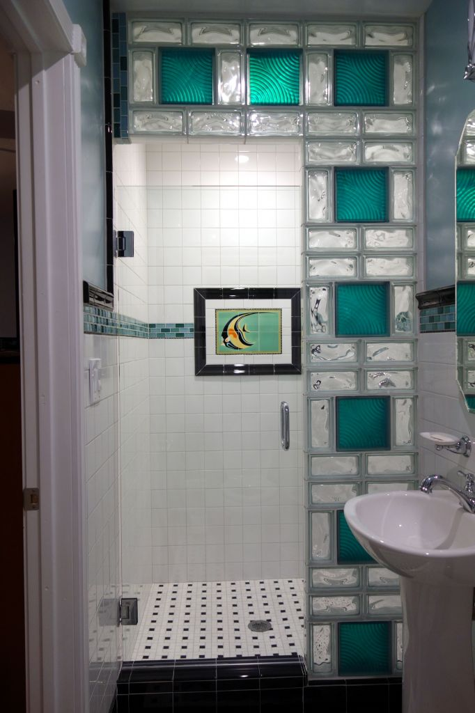 colored glass block shower in a small bathroom renovation san diego