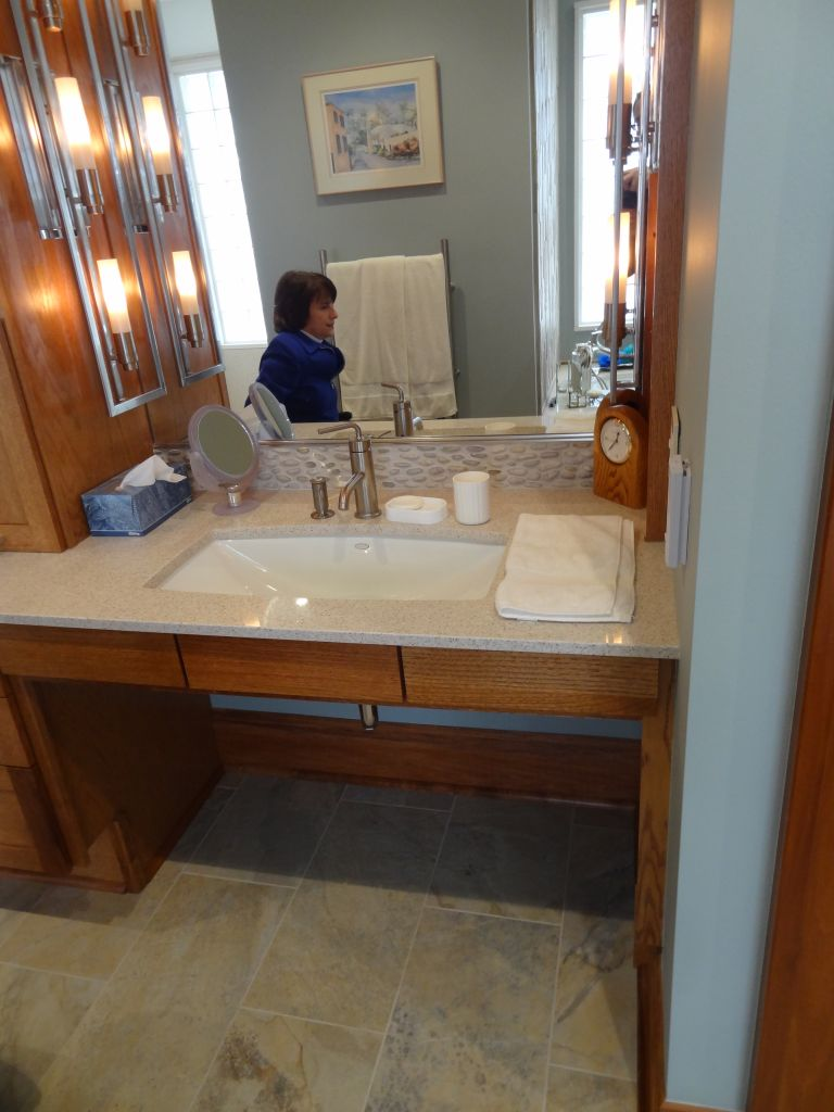 Roll Under Sink With Large Mirrors In Universal And Accessible Design  Bathroom