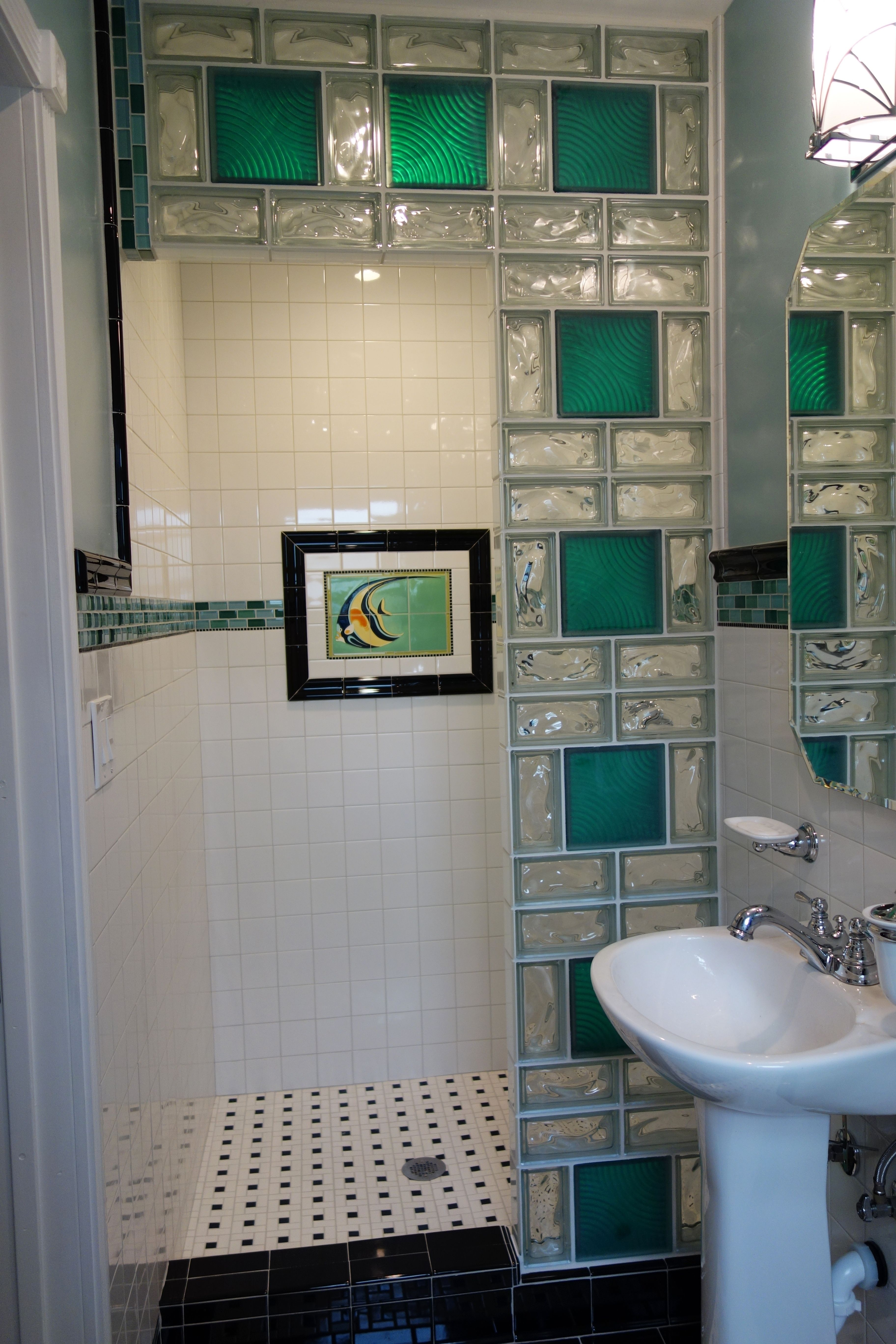 Captivating Glass Block Shower S.
