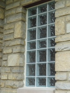 Bathroom glass block windows at St. James Episcopal Church in Columbus Ohio with mortar around sides