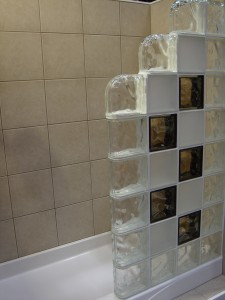 Colored & Frosted Glass Block Shower Wall Using Finished End Blocks