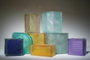 Frosted glass blocks in various sizes and shapes