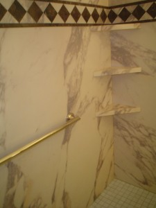 Close up view of new decorative Interior shower wall panels - Cleveland Ohio