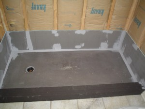 Wedi waterproof pan and curb before new decorative wall surround installation cleveland ohio
