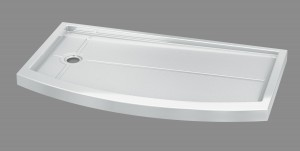 bowfront curved acylic shower base for bathtub to shower conversion