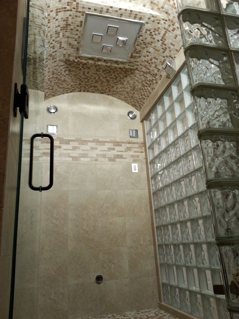 Glass Block Steam Shower With Thinner Glass Blocks In