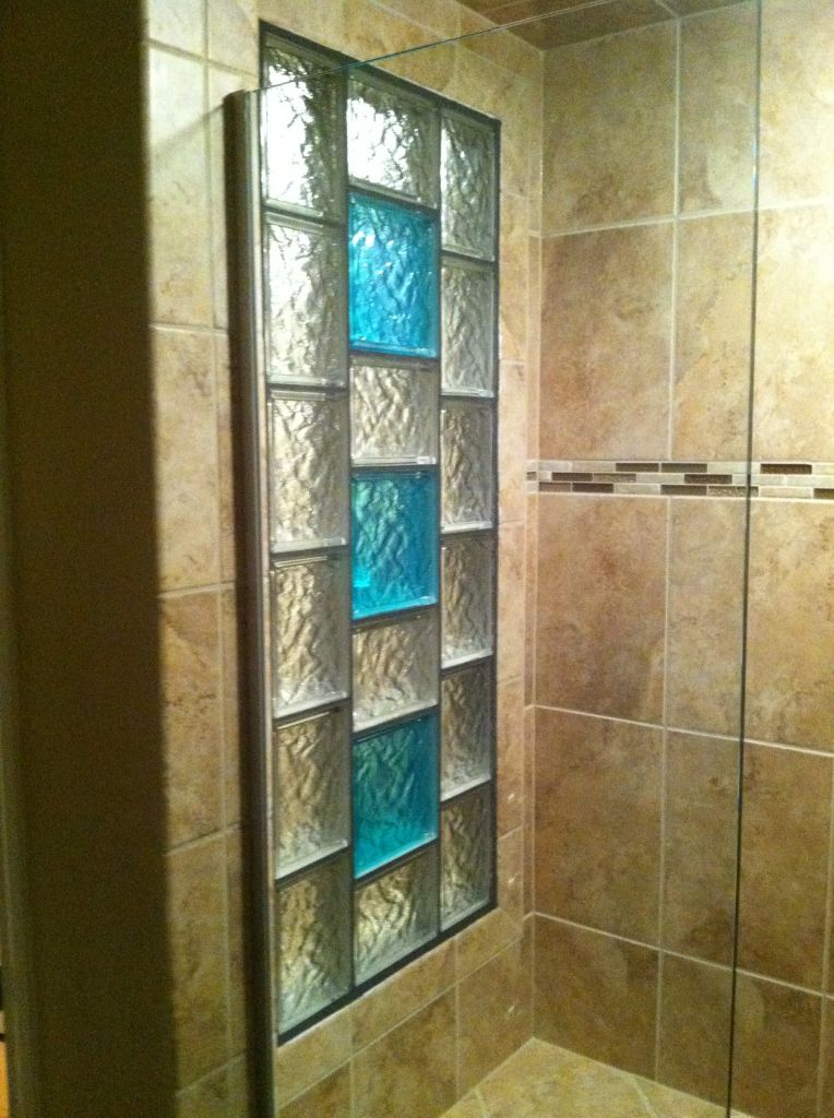 Beau Glass Block Shower Window With Colored Glass Blocks